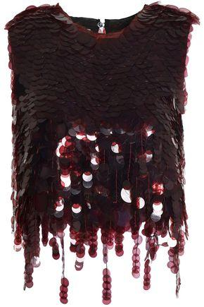 Marni Woman Fringed Sequined Satin-twill Top Brick