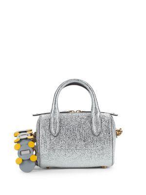 Anya Hindmarch Mini Vere Metallic-leather Barrel Crossbody Bag In Silver