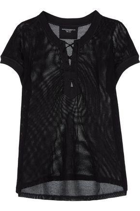 Majestic Woman Lace-up Cotton-mesh Top Black
