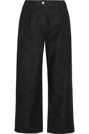 KÉji Cropped High-rise Wide-leg Jeans In Black