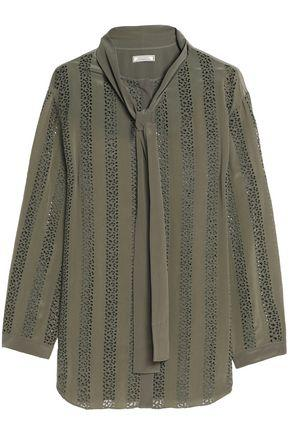Nina Ricci Woman Pussy-bow Broderie Anglaise Silk Top Army Green
