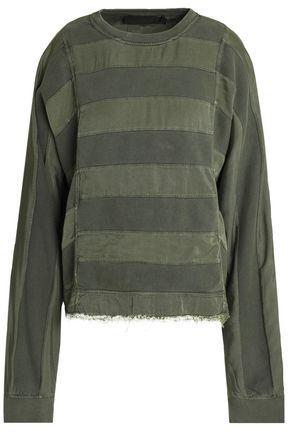 Haider Ackermann Woman Paneled Twill And Cotton-terry Sweatshirt Army Green