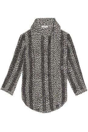 Nina Ricci Woman Pussy-bow Leopard-print Broderie Anglaise Silk Blouse Animal Print