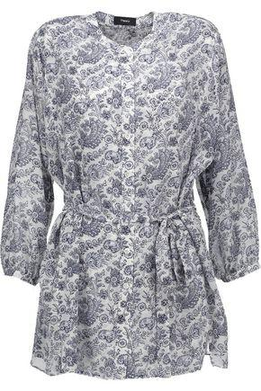 Theory Woman Margretha Printed Silk-georgette Blouse Blue