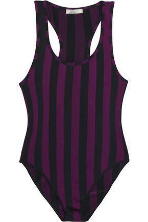 Nina Ricci Woman Striped Stretch-knit Bodysuit Violet