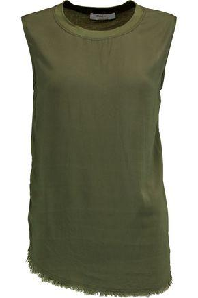 Bailey44 Woman Frayed Jersey-paneled Crepe De Chine Tank Army Green
