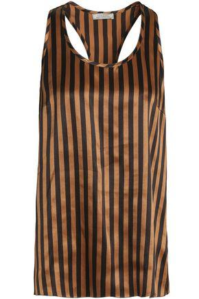 Nina Ricci Woman Striped Silk-satin Top Copper