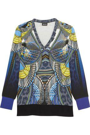 Just Cavalli Woman Printed Cotton-blend Jersey Top Blue