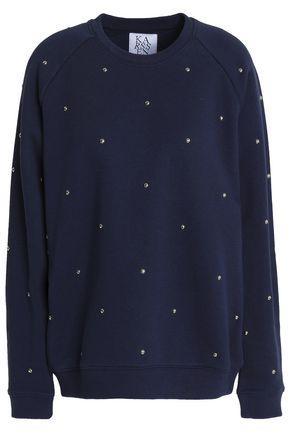 Zoe Karssen Woman Studded Cotton-blend Terry Sweatshirt Navy