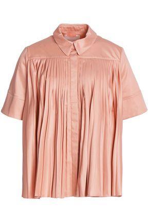 Roksanda Pleated Cotton-sateen Top In Pink