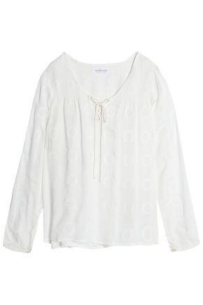 Velvet By Graham & Spencer Woman Embroidered Gauze Top Off-white