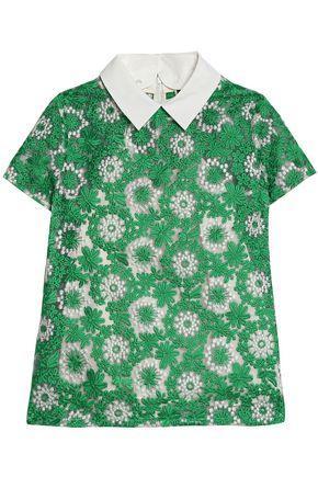 Raoul Woman Poplin-trimmed Embroidered Organza Shirt Jade