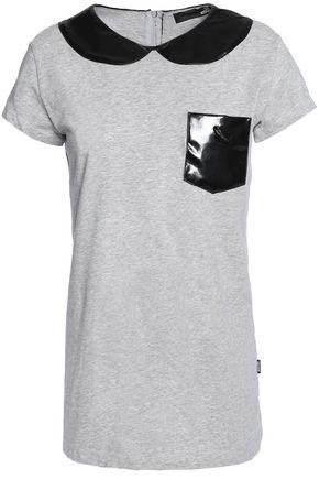 Love Moschino Two-tone Stretch Cotton-jersey Top In Gray