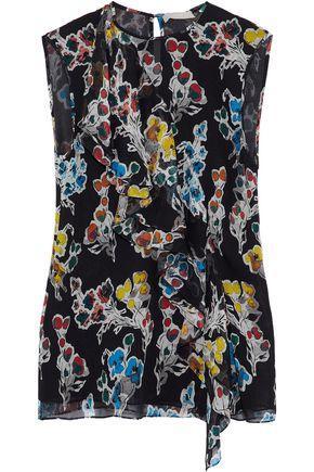 Jason Wu Woman Ruffled Floral-print Crinkled Silk-georgette Top Black