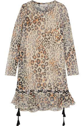 ChloÉ Woman Lace-up Ruffled Leopard-print Cotton-blend Gauze Dress Sand