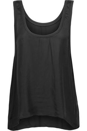 Enza Costa Woman Ribbed Knit-trimmed Satin Tank Black