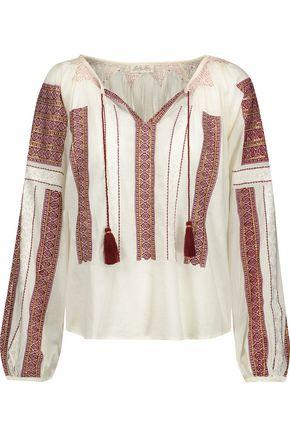 Loveshackfancy Woman Lou Embroidered Sequin-embellished Cotton-voile Blouse Merlot