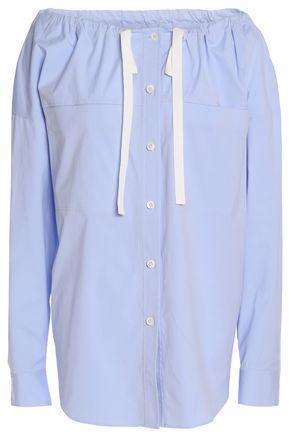 Theory Woman Cotton-blend Poplin Blouse Sky Blue