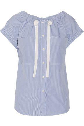 Theory Woman Grosgrain-trimmed Striped Cotton-poplin Top Blue
