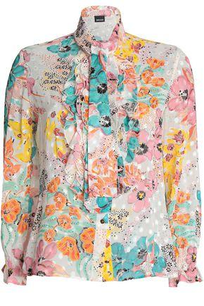 Just Cavalli Woman Ruffled Floral-print Top Off-white