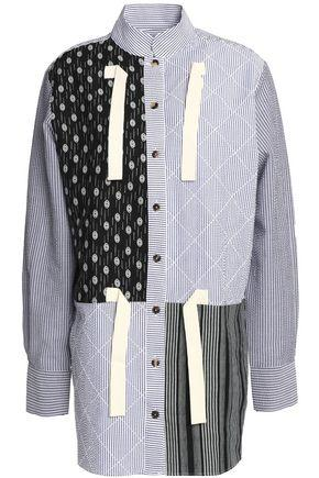 Jw Anderson Woman Tie-front Printed Linen And Striped Cotton-seersucker Shirt Light Blue