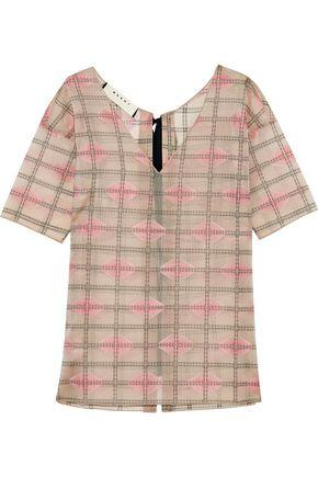 Marni Woman Embroidered Printed Voile Top Pink