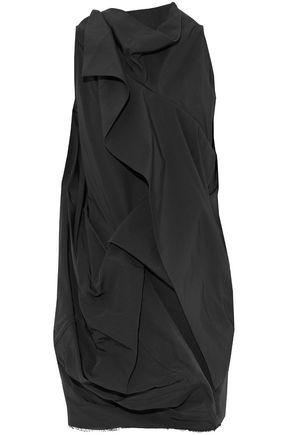 Rick Owens Woman Open-back Gathered Cotton And Silk-blend Faille Top Black