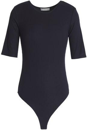 Vince Woman Ribbed-knit Bodysuit Midnight Blue