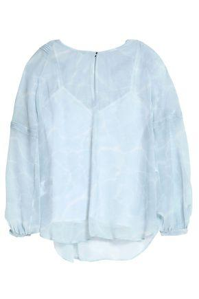 Belstaff Woman Pintucked Printed Georgette Top Light Blue