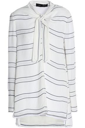 Proenza Schouler Woman Knotted Fringe-trimmed Striped Crepe Blouse Off-white