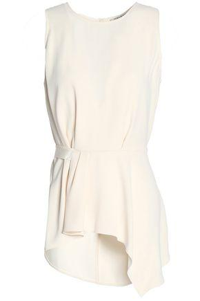Halston Heritage Woman Asymmetric Draped Crepe Top Ivory