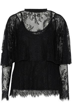 Robert Rodriguez Woman Layered Chantilly Lace Top Black