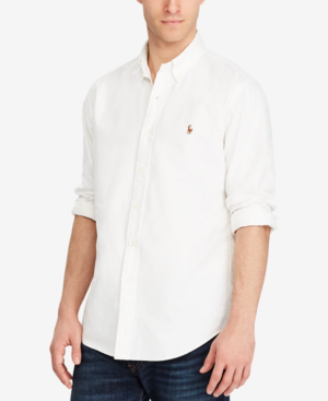 b53a5e207c Polo Ralph Lauren Standard-Fit Button-Down Collar Cotton Oxford Shirt In  White