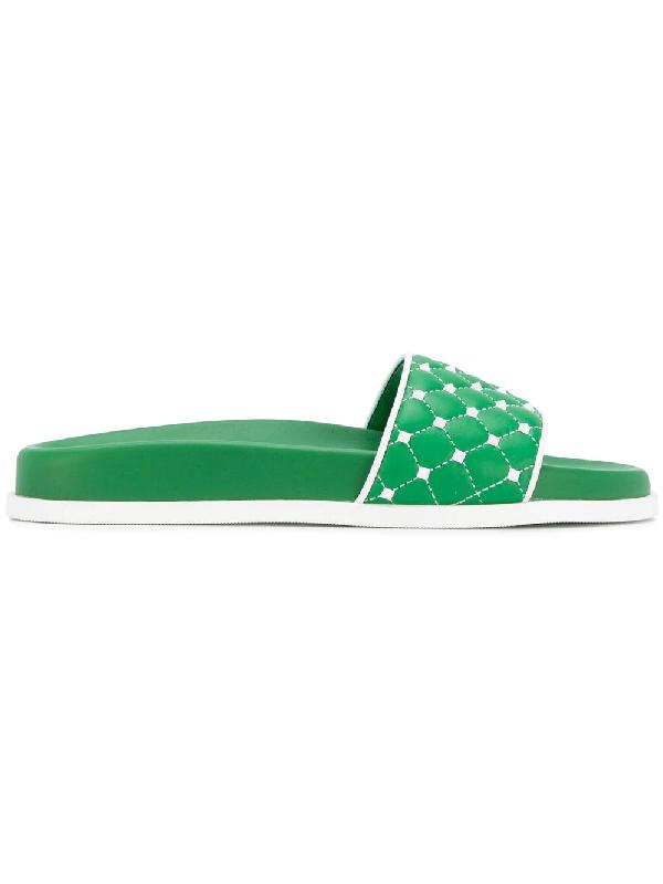 Valentino Free Rockstud Slides, Green, It 37