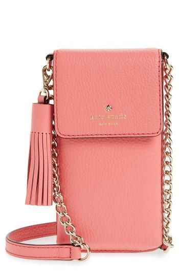 d9c3b83a4330 Kate Spade North/South Leather Smartphone Crossbody Bag - Pink In Coral  Pebble