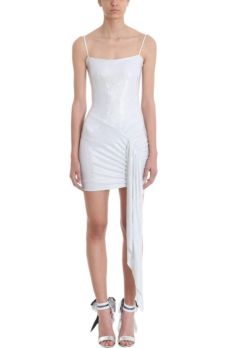 7805f978 Alexandre Vauthier White Micro Crystal Embellished Halter Mini Dress ...