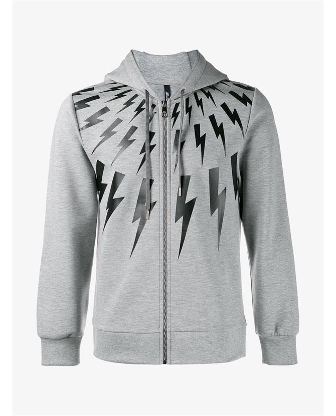 Neil Barrett Hooded Sweatshirt With Thunder Print