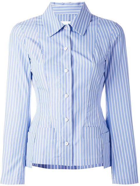 Maison Margiela Striped Shirt In Sky Blue