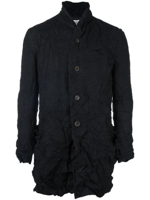 Individual Sentiments Woven Shawl Collar Jacket - Black