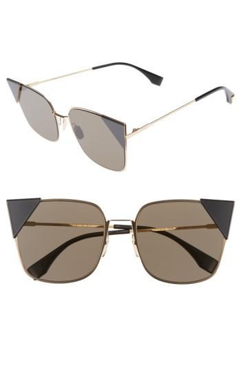 Fendi 55mm Tipped Cat Eye Sunglasses - Rose Gold
