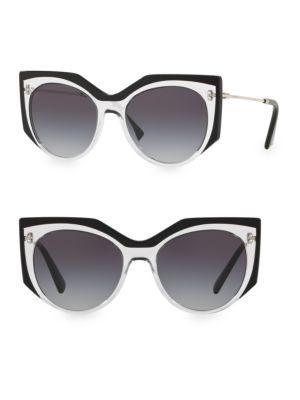Valentino Grad 53mm Cat-eye Sunglasses In Black
