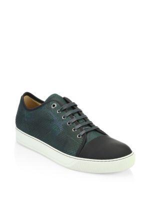 Lanvin Python Sneakers In Dark Green