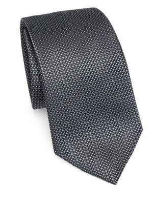 Emporio Armani Silk Dot Tie In Grey