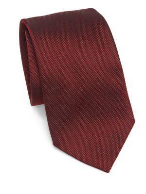 Emporio Armani Textured Silk Tie In Red