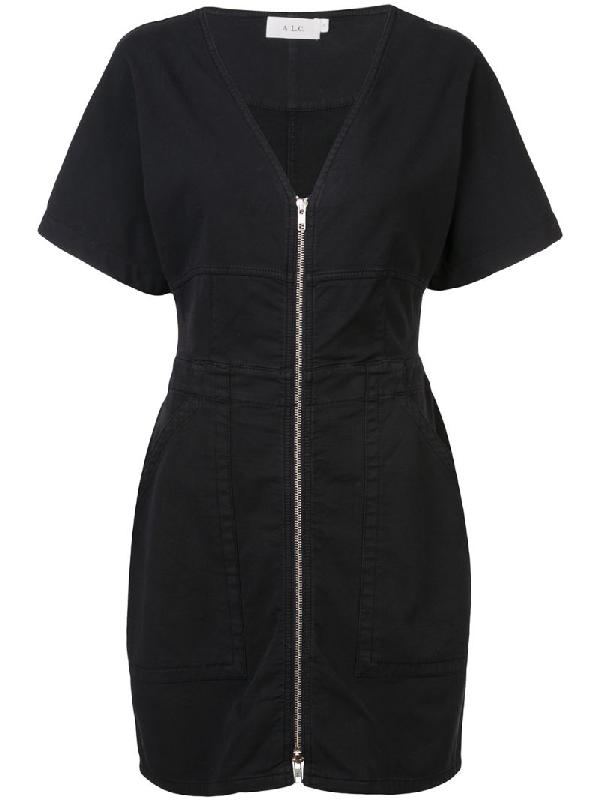 A.l.c Plunge Neck Mini Dress In Black