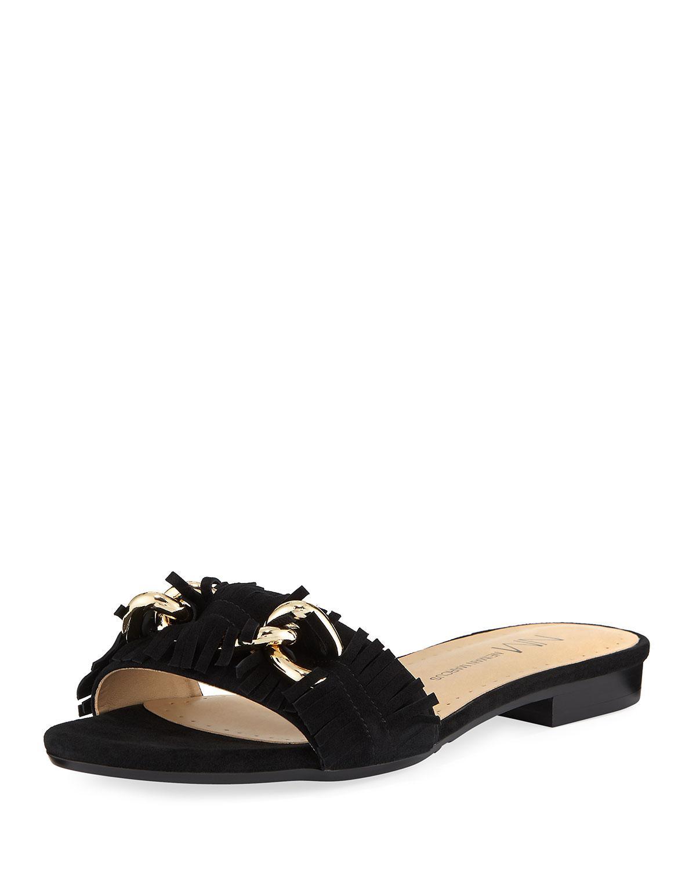 Neiman Marcus Ethel Flat Kiltie Suede Slide Sandal In ...