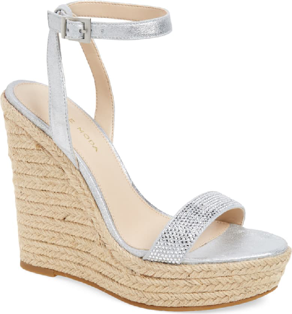 Pelle Moda Only Embellished Platform Wedge In Silver Leather