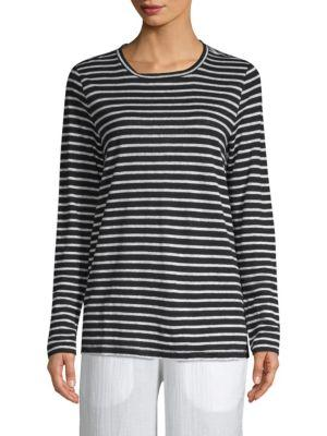Eileen Fisher Seaside Long Sleeve Stripe Top In Black White