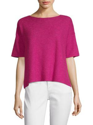 Eileen Fisher Boxy Linen Cotton Slub Knit Top In Cerise