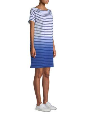 Vineyard Vines Dip-dyed Stripe Cotton T-shirt Dress In White Cap